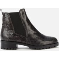 Dune Women's Powerful Reptile Print Leather Boots - Black - EU 36/UK 3