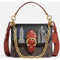 shop for Coach New York Women's Stardust City Skyline Beat Shoulder Bag 18 - Tan Brown Rust at Shopo