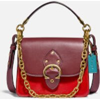 shop for Coach New York Women's CNY Canvas Signature Gusset Beat Shoulder Bag 18 - Tan Electric Red Multi at Shopo