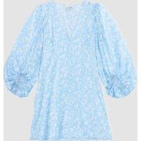Ganni Women's Silk Stetch Satin Mini Dress - Alaskan Blue - EU 36/UK 8