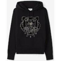 KENZO Women's Velvet Tigerhead Embroidered Hooded Sweatshirt - Black - XS