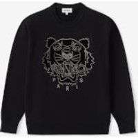 KENZO Women's Velvet Tigerhead Embroidered Crewneck Sweatshirt - Black - XL