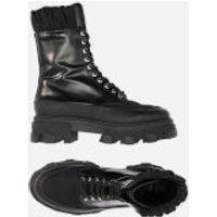 Ganni Women's Brush Off & Nylon Lace Up Boots - Black - UK 5