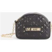 shop for Love Moschino Women's Half Dome Quilted Shoulder Bag - Black at Shopo