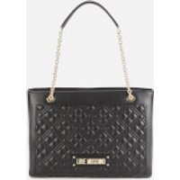 shop for Love Moschino Women's Quilted Shoulder Bag - Black at Shopo