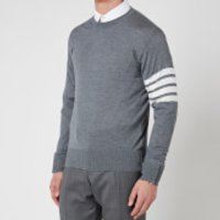 Thom Browne Men's Four-Bar White Stripe Classic Crewneck Jumper - Medium Grey - 3/L