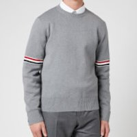Thom Browne Men's Tricolour Stripe Crewneck Jumper - Light Grey - 3/L