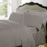 Highams 100% Egyptian Cotton Plain Dyed Fitted Sheet - Portobello - King - Stone