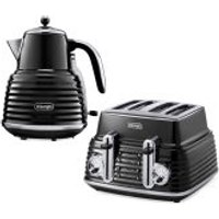 DeLonghi Scultura 4 Slice Toaster and Kettle Bundle - Black High Gloss