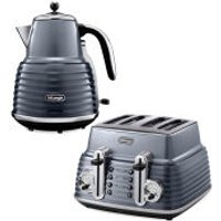 De'Longhi Scultura 4 Slice Toaster and Kettle Bundle - Gun Metal High Gloss - Gun Gifts