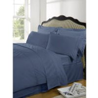 Highams 100% Egyptian Cotton Plain Dyed Duvet Cover and One Pillowcase - Steel Blue - Single