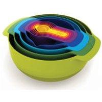 Joseph Joseph Nest Plus 9 Piece Mixing Bowls, Measures, Seive And Colander Stacking Set
