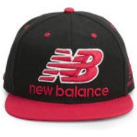New Balance Unisex Courtside 6 Panel Flat Peak Baseball Cap - Acrylic Black/Red