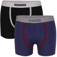 One True Saxon Mens Two Pack Boxers - Black/Navy - XL