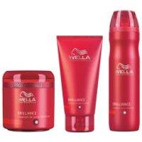 Wella Professionals Brilliance Trio for Fine to Normal Coloured Hair- Shampoo, Conditioner & Treatment