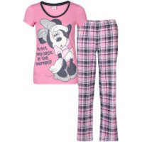 Minnie Mouse Women's Checked Pyjama Set - Pink - 18-20 - Pink