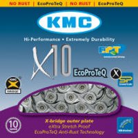 KMC X10 Eco Pro Teq Chain - 114 Links - Silver