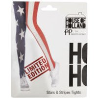 House of Holland Pretty Polly Womens Star and Stripes Tights - Navy/Red/White - One Size