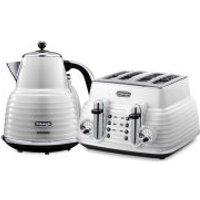 DeLonghi Scultura 4 Slice Toaster and Kettle Bundle - White Gloss