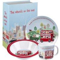 Little Rhymes Wheels on the Bus 3 Piece Melamine Breakfast Set