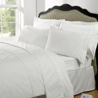 Highams 100% Egyptian Cotton Plain Dyed Fitted Sheet - White - Single