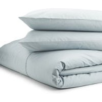 Highams 100% Egyptian Cotton Plain Dyed Duvet Cover and Pair of Pillowcases - Duck Egg - Super King