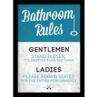 Bathroom Rules - Framed 30x40cm Print