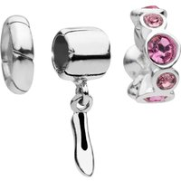 Amadora Shoe and Rose Crystal Set Of Three Charms  - One Size - Silver