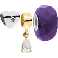 Amadora Silver Heart And Crystal Beads Pack of 3 Charms Set - One Size - Silver