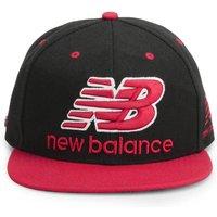 New Balance Unisex Courtside 6 Panel Flat Peak Baseball Cap - Acrylic Black/Red
