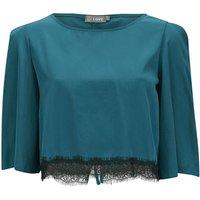 LOVE Womens Lace Edge Tie Back Crop Top - Blue - S-M - Blue