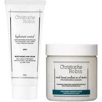 Christophe Robin Cleansing Purifying Sea Salt Scrub (250ml) and Moisturizing Hair Cream (100ml)