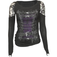 Spiral Womens WAISTED CORSET Shoulder Lace Top - Black - L