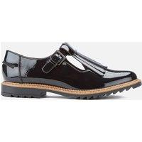 Clarks Women's Griffin Mia Patent Frill T Bar Shoes - Black - UK 3 - Black