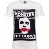 DC Comics Mens Batman The Joker The Curve T-Shirt - Weiß - XL - Weiß