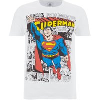 DC Comics Men's Superman Comic Strip T-Shirt - White - M - White - Superman Gifts