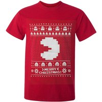 Namco Men's Merry Pac-Man Christmas T-Shirt - Red - M - Red