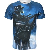 Star Wars Rogue One Men's Battle Stance Death Trooper T-Shirt - Blue - L - Star Wars Gifts