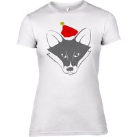 Fox with Santa Hat Women's T-Shirt - UK 12 - Tshirt Gifts
