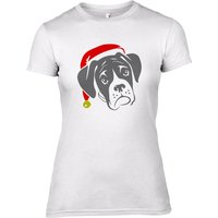Boxer Dog with Santa Hat Women's T-Shirt - UK 14 - Clothing Gifts
