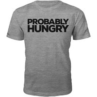Probably Hungry Slogan T-Shirt - Grey - XL - Grey