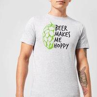 Beershield Beer Makes Me Hoppy Men's T-Shirt - XXL - Grey - Beer Gifts
