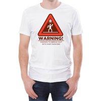 Warning Dad Dancing Men's White T-Shirt - XXL - White - Dancing Gifts