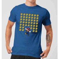 Nintendo Super Mario Coin Drop Men's Blue T-Shirt - L - Blue
