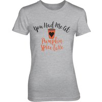 You Had Me At Pumpkin Spice Latte Women's Grey T-Shirt - L - Grey - Pumpkin Gifts