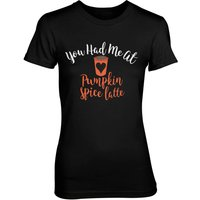 You Had Me At Pumpkin Spice Latte Women's Black T-Shirt - S - Black - Pumpkin Gifts