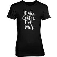 Make Coffee Not War Women's Black T-Shirt - XL - Black