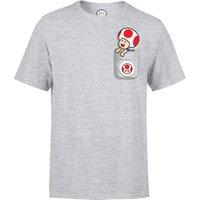 Nintendo Super Mario Toad Pocket Men's Light Grey T-Shirt - L