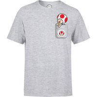 Nintendo Super Mario Toad Pocket Men's Light Grey T-Shirt - XXL