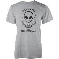 She's Extra Terrestrial Grey T-Shirt - S - Grey